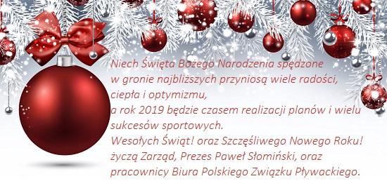 Spokojnych świąt Bożego Narodzenia Polski Związek Pływacki
